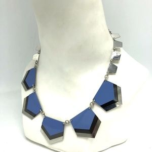 Express 5 Panel Blue Silver Choker Necklace